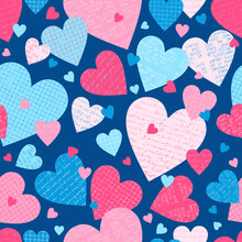 Vector Love Seamless Pattern With Grid, Crumpled, Handwritten Letters And Typewriter Colorful Paper Hearts On Blue Background
