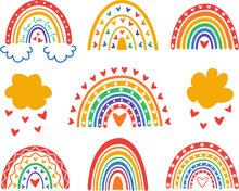 Set Of  Boho Rainbows In The Colors Of The LGBT Flag, LGBTQ Pride Vector Design, LGBT Pride Month Icons