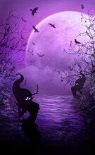 Dark Landscape With Big Moon In The Clouds And Mysterious Silhouettes Of Spirits Water, Ghostly Mermaids, With Glowing Eyes, With Flying Birds And Tree Branches, Gloomy Mystical Waters Covered In Fog.