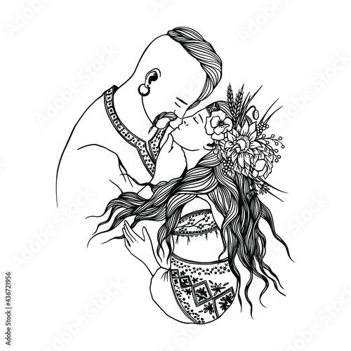 Vector illustration of Ukrainian couple in love wearing traditional costumes Fototapet