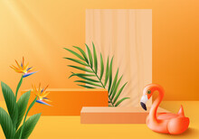 3d Orange Flamingo Render For Summer Tropical. Background Product Display Podium Scene With Holiday Tropical Platform. Summer Background Vector 3d With Podium. Stand For Cosmetic Product Display