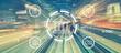 Leinwanddruck Bild - Online banking concept with high speed motion blur