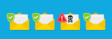 Envelope Document And Skull Icon. Virus, Malware. Vector Illustration