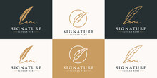 Set Of Golden Quill Signature Logo Design. Minimalist Feather Ink Logo Template.
