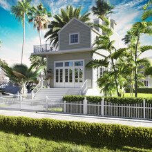 Adorable Beech Two Story Bungalow Nestled Between Large Palm Trees. 3d Rendering