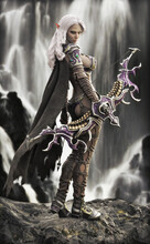Fantasy Dark Elf Female Archer With Flowing White Hair ,cape And Mythical Armor Posing With Her Bow Standing On A Rock Outcrop With A Magnificent Waterfall Background. 3d Rendering