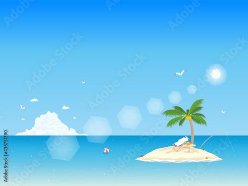 Fotografia ブルーオーシャン シロクマの休暇 風景イラスト 背景素材