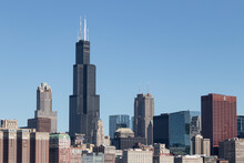 Chicago Downtown Skyline From Lake Michigan On A Sunny Day.