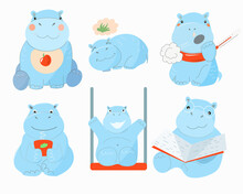 A Set Of Blue Hippos In Different Situations.