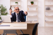 Old Male Employer In Bankruptcy Concept