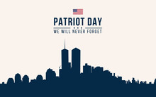 Patriot Day Blue Background With New York City Silhouette Illustration