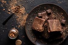 Dark Chocolate Brownie On Black Backround