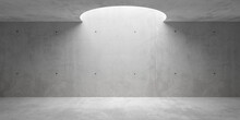 Abstract Empty, Modern Concrete Room With Circular Opening In The Ceiling And Rough Floor - Industrial Interior Background Template