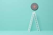 Stepladder Leading To Goal Target In Blue Room Background, Achievement, Career Goal Or Success Concept