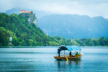The Bled Castle In Slovenia On A Rainy But Beautiful Day