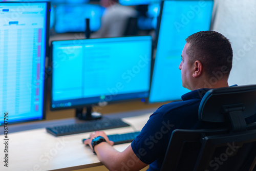 Canvas Group of Security data center operators (administrators) working in a group at a