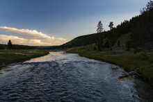 Firehole River At Sunset, Yellowstone National Park, Wyoming