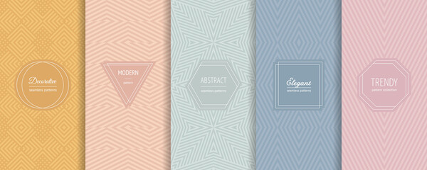 Vector geometric seamless patterns. Set of stylish pastel backgrounds with elegant minimal labels. Abstract modern line ornament textures. Trendy nude color palette. Design for print, package, decor