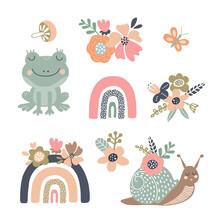 Set Of Vector Illustrations With Cute Animals, Rainbows And Flowers. Clipart For Baby Design, Easter Holiday, Invitations And Cards