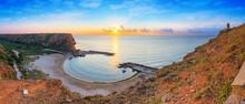 Coastal Landscape - Top View Of The Sunrise In The Bolata Cove On The Black Sea Coast Of Bulgaria