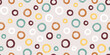 Colorful seamless pattern with rings in brush stroke technique. Vector abstract background with hand painted circles.