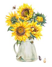 Watercolor Rustic Farmhouse Sunflower Bouquet, Vintage White Enamel Jug, Vase