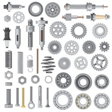 Industrial Machines And Vehicles Vector Spare Parts. Vector Bolts, Nuts And Anchors, Springs And Washers, Car, Motorcycle Or Bicycle Transmission Cog Wheels, Ball Bearings And Shock Absorbers