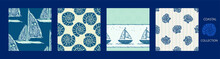 Coastal Sail Boat Drawn Seamless Pattern. Marine 2 Tone Yacht Ship Printed Background For Interior Textiles And Modern Trendy Fashion. Maritime Travel All Over Design Vector Repeat.