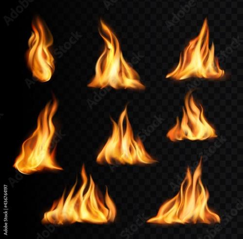 Obraz na płótnie Burning fire flames and trails, campfire vector tongues