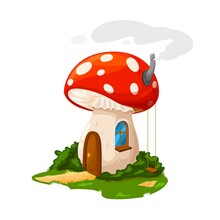 Fairy Mushroom House Or Gnome Dwelling And Dwarf Home, Vector Cartoon. Dwarf Gnome Or Elf Fairy Tale Mushroom House From Amanita, Hut With Wooden Door, Chimney And Swings At Garden Yard