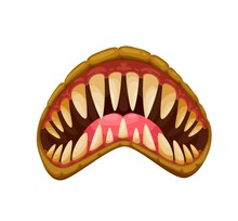 Monster Jaws, Mouth, Tongue And Teeth, Scary Evil Smile Vector Cartoon Icon. Scary Face Of Monster Creature Or Devil Beast Mask With Spooky Vampire Sharp Fang Teeth And Grim Jaws