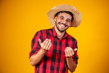 Brazilian Man Wearing Typical Clothes For The Festa Junina