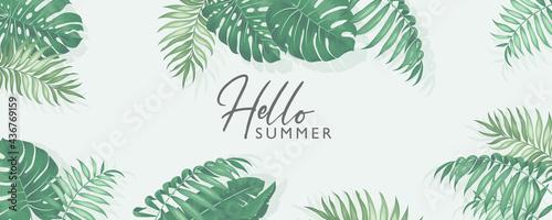 Billede på lærred Minimalist summer banner design with tropical leaves theme