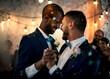 Leinwandbild Motiv Gay couple dancing on wedding day