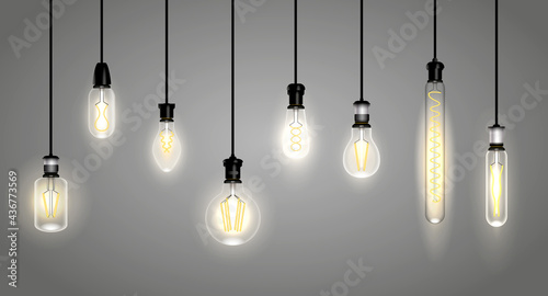 Canvastavla realistic incandescent lamps or hang bulb wire light