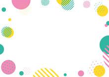 爽やかな配色のドット幾何学フレーム