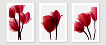 Red Tulips Abstract Background Vector. Minimal Flower Watercolor Design For Wall Art And Home Decoration, Prints, Cover And Wallpaper.