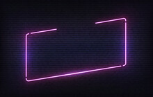 Neon Frame Template With Placeholder. Purple Incline Light Banner Design Template. Vector Glowing Rectangle Signboard