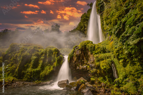 Tablou Canvas Beautiful landscape Patagonia mountains glacier lake river forests and waterfalls
