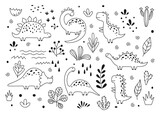 Fototapeta Dinusie - Cute dinosaurs and tropic plants in outline sketchy style. Funny cartoon dino set. Hand drawn vector doodle set for kids