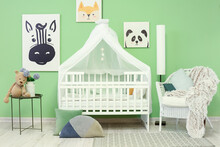 Interior Of Stylish Children's Room With Comfortable Bed