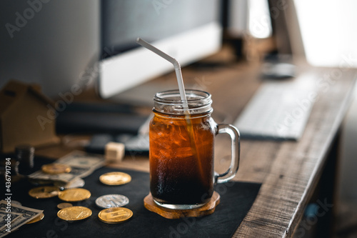 Iced Americano iced latte on table in home Fototapet