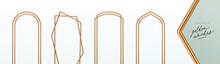 Set Of Realistic Golden Metal Arches. 3d Golden Architectural Elements. Modern Decoration. Minimal Decorative Shapes. Vector Illustration.
