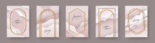 Set Of Abstract Modern Poster. Realistic Golden Frames And Arches On Fluid Layered Background. Elegant Luxury Design For Poster, Flyer, Cover, Postcard. Vector Illustration.