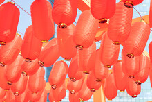 Traditional Red Lanterns Decorated Outdoor For Festive.