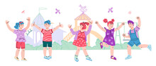 Kids Summer Banner With Cute Boys And Girls At Playground Or Amusement Park. Backdrop For Summer Camp, Kindergarten Or Park Play Area, Cartoon Vector Illustration Isolated On White Background.