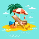 Summer holiday beach vacation. Beach chair, umbrella, coconut tree ,beach bag hat and flip-flops on beach.