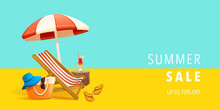 Summer Sale Beach Holiday Vacation. Beach Chair, Beach Bag Hat And Flip-flop On Background.