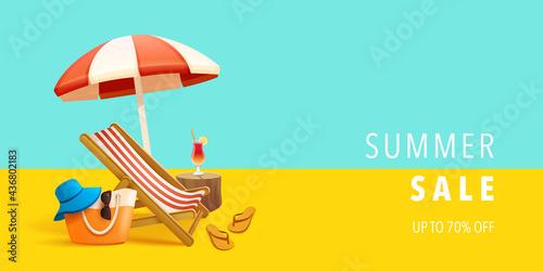 Valokuvatapetti Summer sale beach holiday vacation