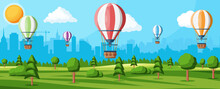 Hot Air Balloon In The Sky With Clouds And Sun. Vintage Air Transport. Nature Outdoor Background. Aerostat With Basket. Nature Landscape Of Green Hills And Cityscape. Flat Vector Illustration